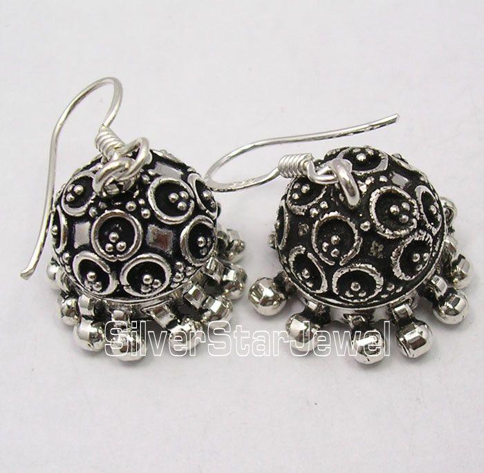 925 Sterling Silver JHUMKA India TRIBAL Earrings 3.4CM