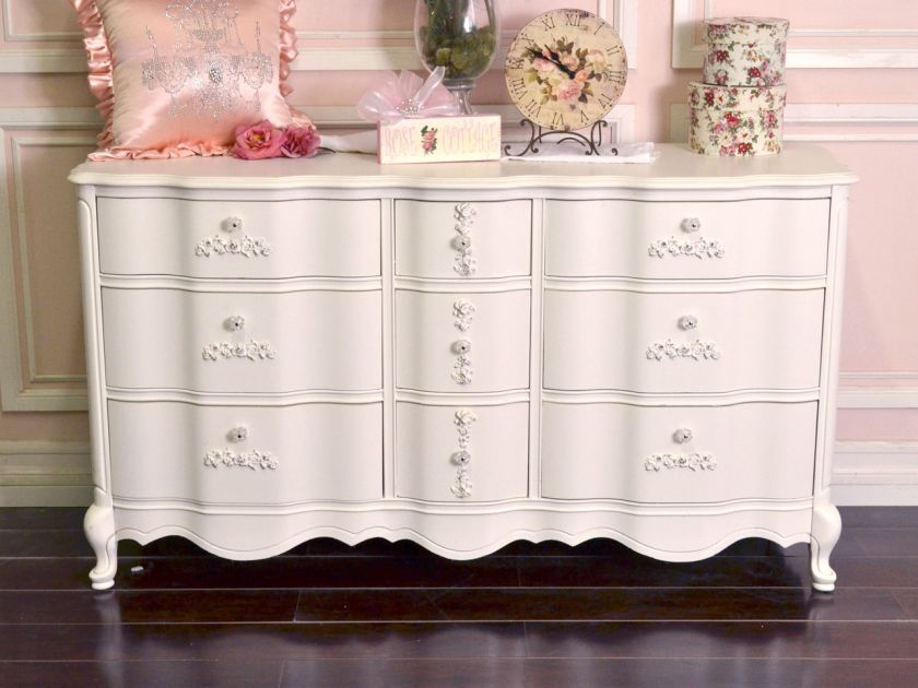 Shabby Cottage Chic White Rose 9 Drawer Dresser French Vintage Style