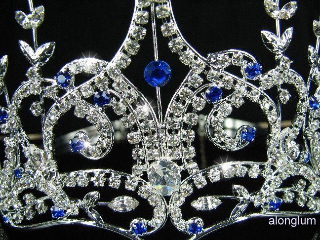 Blue Wedding Bridal Bridesmaid Prom Sparkling Swarovski Crystal Tiara
