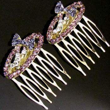 SHIPPING 2 pc Austrian hinestone crystal bow tie hair comb pin