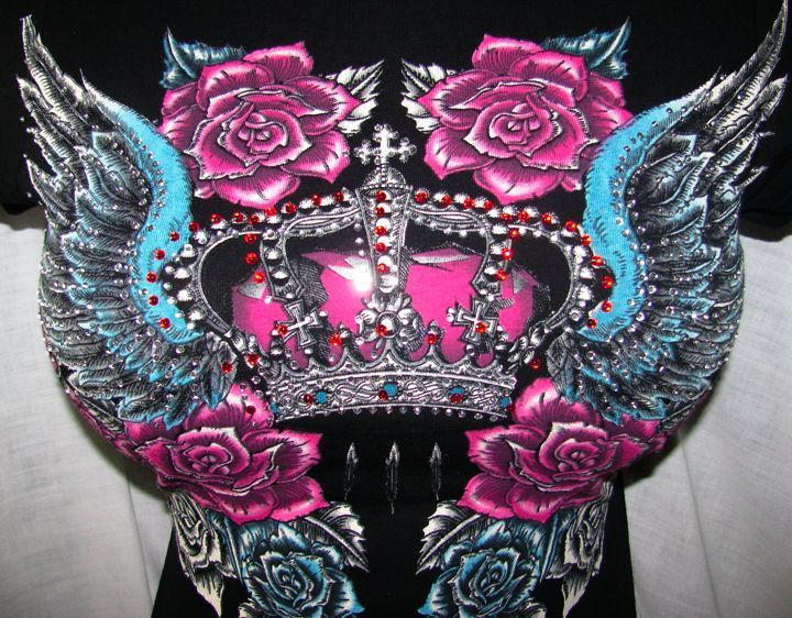 FUCHSIA ROYAL AIR BRUSHED CROWN~N~ROSES ANGEL WING TATTOO TOP TEE S