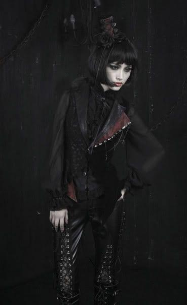 UNISEX Gothic punk rave visual kei rock cross lace coat jacket blazer