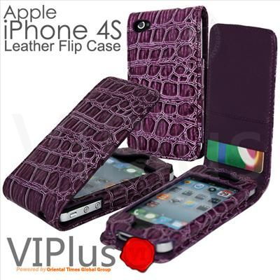 Alligator Skin Leather Case Pouch Flip Cover Holster Apple iPhone 4 4S