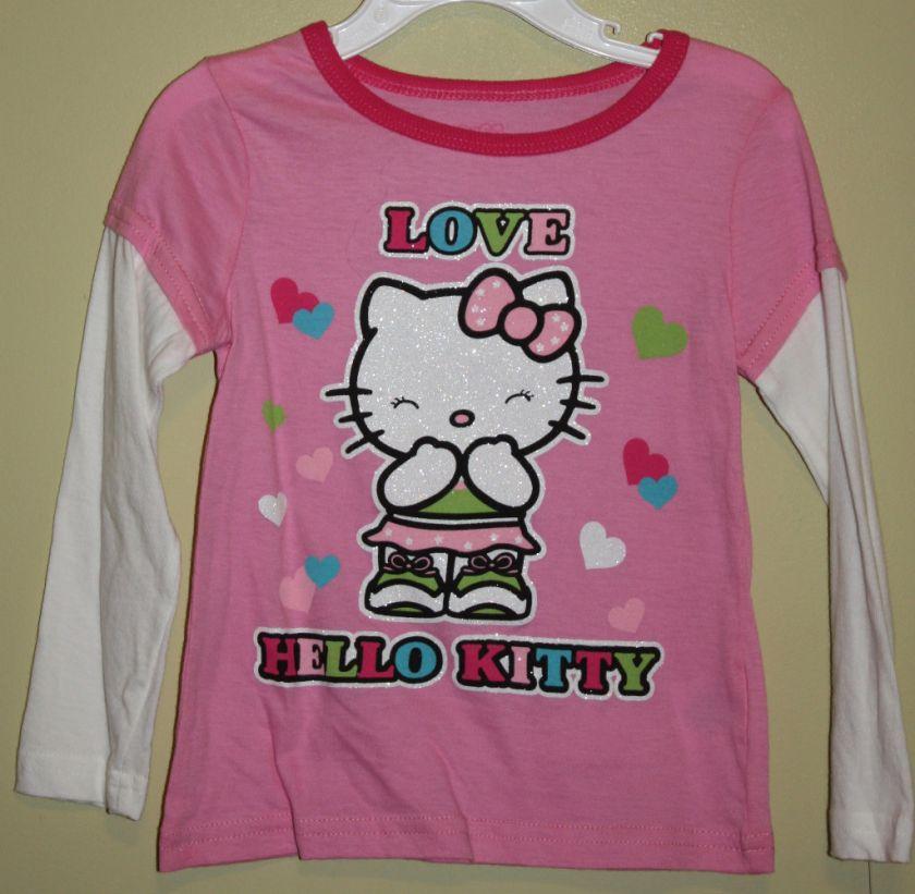 Sanrio Hello Kitty Pink Love Long Sleeve Shirt Sz 4 5 6
