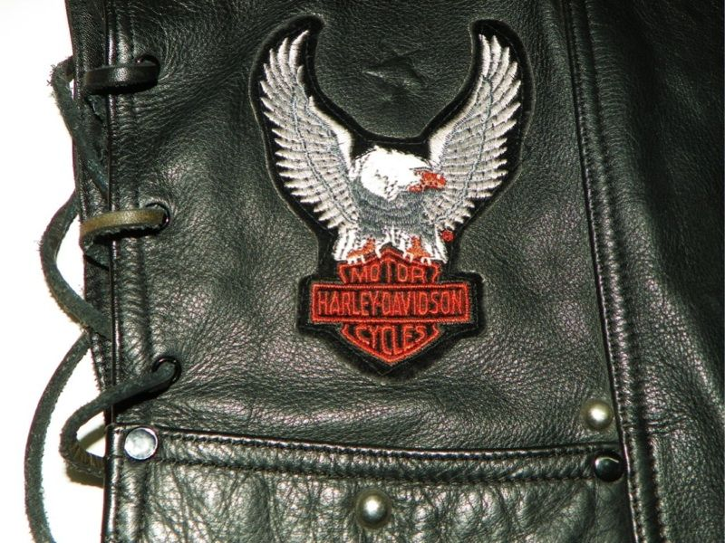 Rare Vintage Harley Davidson Vegas Black Leather Vest M Medium