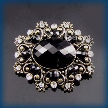 antiqued rhinestone crystal flower brooch pin