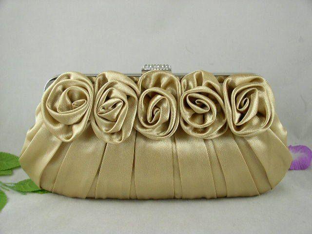 Fabulous Gold Satin Roses Pleated Wedding Clutch Rhinestones
