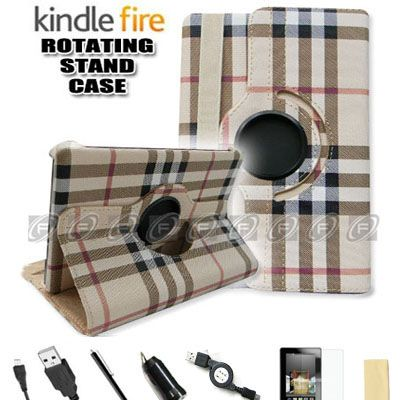 Kindle Fire Flower Style PU Leather Case/Car Charger/USB Cable